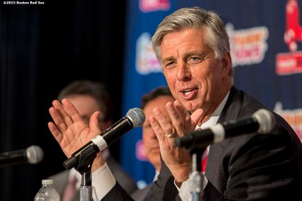 """Newly appointed Boston Red Sox President of Baseball Operations Dave Dombrowski speaks during a press conference at Fenway Park in Boston, Massachusetts Wednesday, August 19, 2015."""