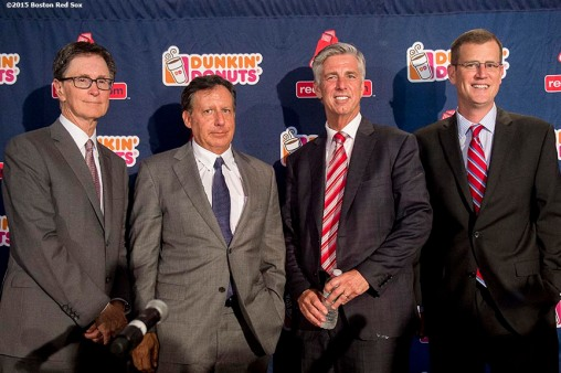 """Newly appointed Boston Red Sox President of Baseball Operations Dave Dombrowski poses for a group photograph with Principal Owner John Henry, Chairman Tom Werner, and Chief Operating Officer Sam Kennedy during a press conference at Fenway Park in Boston, Massachusetts Wednesday, August 19, 2015."""