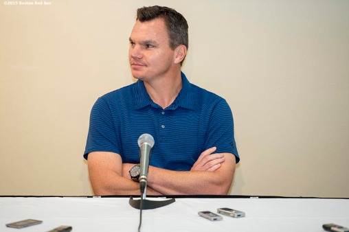 """Boston Red Sox General Manager Ben Cherington announces that he will step down as General Manager following the hiring of President of Baseball Operations Dave Dombrowski during a press conference at Fenway Park in Boston, Massachusetts Wednesday, August 19, 2015."""