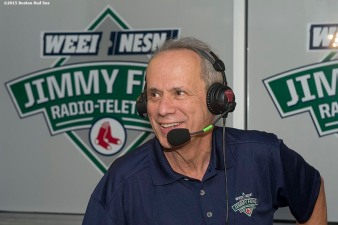 """Boston Red Sox President & CEO Larry Lucchino appears on set during the WEEI NESN Jimmy Fund Radio-Telethon at Fenway Park in Boston, Massachusetts Wednesday, August 19, 2015."""