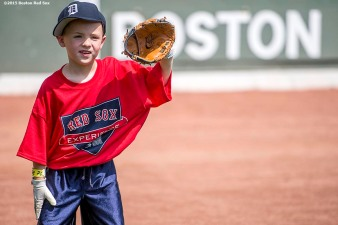 """A participant takes part in a fielding drill during a Sox Talk clinic at Fenway Park in Boston, Massachusetts Wednesday, August 19, 2015."""
