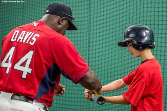 """Hitting coach Chili Davis instructs during a hitting drill during a Sox Talk clinic at Fenway Park in Boston, Massachusetts Wednesday, August 19, 2015."""