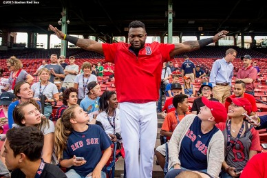 """Boston Red Sox designated hitter David Ortiz greets patients during a Jimmy Fund meet and greet at Fenway Park in Boston, Massachusetts Saturday, August 22, 2015."""