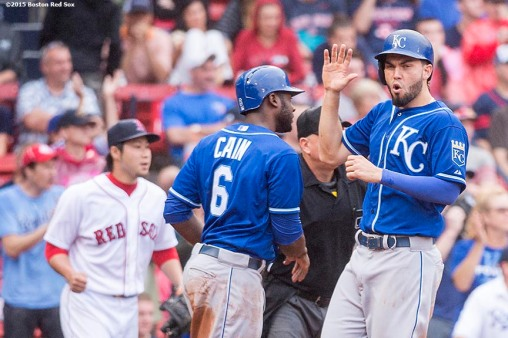 """Bosotn Red Sox during the inning of a game against the Kansas City Royals at Fenway Park in Boston, Massachusetts Sunday, August 23, 2015."""