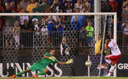 EAST HARTFORD, CT - JULY 24: Luca Lezzerini #24 of ACF Fiorentina saves a penalty kick by Mehdi Carcela-Gonzalez #39 of SL Benfica to win an International Champions Cup 2015 match at Rentschler Field on July 24, 2015 in East Hartford, Connecticut. ACF Fiorentina defeated SL Benfica 0-0, 4-5 on penalty kicks. (Photo by Billie Weiss/Getty Images) *** Local Caption *** Luca Lezzerini;Mehdi Carcela-Gonzalez