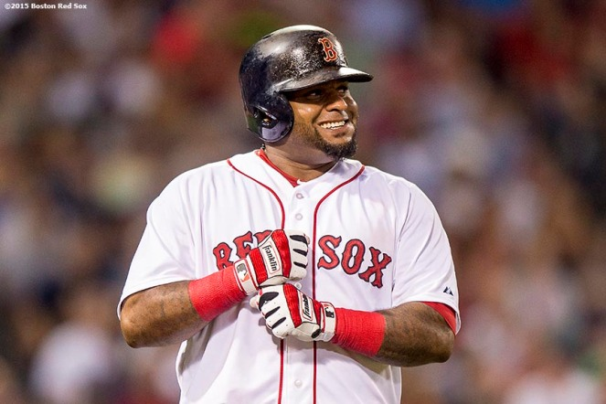 """Boston Red Sox third baseman Pablo Sandoval reacts during the ninth inning of a game against the New York Yankees at Fenway Park in Boston, Massachusetts Tuesday, September 1, 2015."""