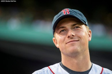 """PGA tour golfer Jordan Spieth looks on before throwing out the ceremonial first pitch before a game between the Boston Red Sox and the New York Yankees at Fenway Park in Boston, Massachusetts Tuesday, September 1, 2015."""