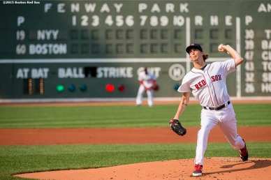 """Boston Red Sox pitcher Henry Owens delivers during the first inning of a game against the New York Yankees at Fenway Park in Boston, Massachusetts Wednesday, September 2, 2015."""