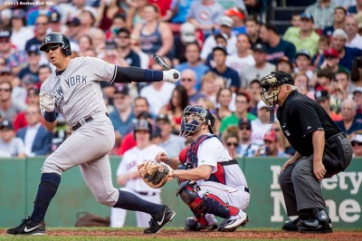 """New York Yankees designated hitter Alex Rodriguez hits a single during the second inning of a game against the Boston Red Sox at Fenway Park in Boston, Massachusetts Wednesday, September 2, 2015."""