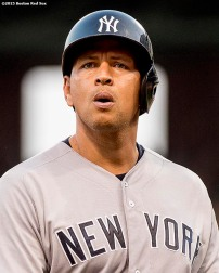 """New York Yankees designated hitter Alex Rodriguez reacts after hitting into a double play during the eighth inning of a game against the Boston Red Sox at Fenway Park in Boston, Massachusetts Wednesday, September 2, 2015."""