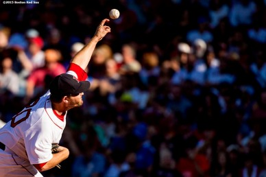 """""""Boston Red Sox pitcher Wade Miley delivers during the third inning of a game against the Philadelphia Phillies at Fenway Park in Boston, Massachusetts Saturday, September 5, 2015."""""""