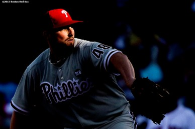 """""""Philadelphia Phillies pitcher Alec Asher delivers during the fourth inning of a game against the Boston Red Sox at Fenway Park in Boston, Massachusetts Saturday, September 5, 2015."""""""