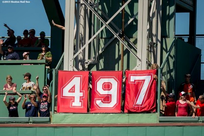 """Banners display ""497"" after Boston Red Sox designated hitter David Ortiz hit the 497th home run of his career during the first inning of a game against the Philadelphia Phillies at Fenway Park in Boston, Massachusetts Sunday, September 6, 2015."""