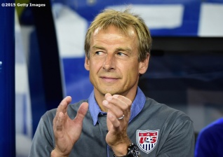 FOXBORO, MA - SEPTEMBER 08: Head coach Jurgen Klinsmann of the United States looks on during an international friendly against Brazil at Gillette Stadium on September 8, 2015 in Foxboro, Massachusetts. (Photo by Billie Weiss/Getty Images)