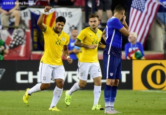 FOXBORO, MA - SEPTEMBER 08: Hulk #21 of Brazil reacts after scoring a goal during an international friendly against the United States at Gillette Stadium on September 8, 2015 in Foxboro, Massachusetts. (Photo by Billie Weiss/Getty Images)