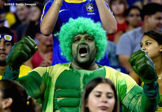FOXBORO, MA - SEPTEMBER 08: A fan reacts during an international friendly between the United States and Brazil at Gillette Stadium on September 8, 2015 in Foxboro, Massachusetts. (Photo by Billie Weiss/Getty Images)