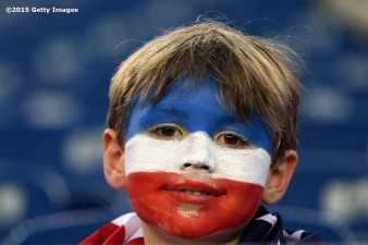 FOXBORO, MA - SEPTEMBER 08: A fan looks on before an international friendly between the United States and Brazil at Gillette Stadium on September 8, 2015 in Foxboro, Massachusetts. (Photo by Billie Weiss/Getty Images)