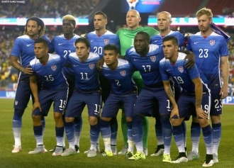 FOXBORO, MA - SEPTEMBER 08: Members of the United States pose for a team photograph during an international friendly against Brazil at Gillette Stadium on September 8, 2015 in Foxboro, Massachusetts. (Photo by Billie Weiss/Getty Images)