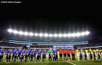 FOXBORO, MA - SEPTEMBER 08: Starting lineups before an international friendly between Brazil and the United States at Gillette Stadium on September 8, 2015 in Foxboro, Massachusetts. (Photo by Billie Weiss/Getty Images)