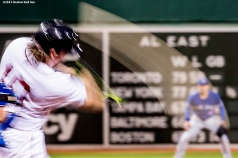 """Boston Red Sox catcher Ryan Hanigan swings during the third inning of a game against the Toronto Blue Jays at Fenway Park in Boston, Massachusetts Monday, September 9, 2015."""