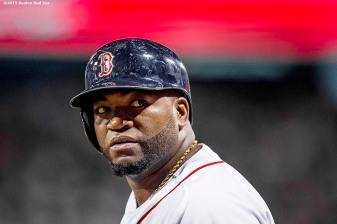 """Boston Red Sox designated hitter David Ortiz looks on before batting during the third inning of a game against the Toronto Blue Jays at Fenway Park in Boston, Massachusetts Monday, September 9, 2015."""