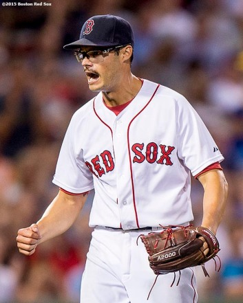 """Boston Red Sox pitcher Joe Kelly reacts during the fourth inning of a game against the Toronto Blue Jays at Fenway Park in Boston, Massachusetts Monday, September 9, 2015."""