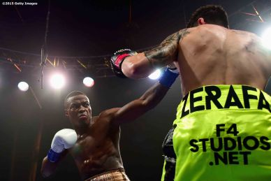MASHANTUCKET, CT - SEPTEMBER 12: Peter Quillin punches Michael Zerafa during a fight at Foxwoods Resort Casino on September 12, 2015 in Mashantucket, Connecticut. (Photo by Billie Weiss/Getty Images)