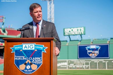 """Boston Mayor Martin J. Walsh speaks during a press conference announcing the AIG Fenway Hurling Classic and Irish Festival Announcement, at Fenway Park in Boston, Massachusetts Tuesday, September 15, 2015."""