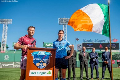 """Galway hurling player Dave Collins and Dublin hurling player Mark Schutte speak during a press conference announcing the AIG Fenway Hurling Classic and Irish Festival Announcement, at Fenway Park in Boston, Massachusetts Tuesday, September 15, 2015."""
