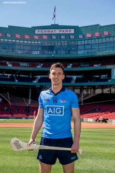 """Dublin hurling player Mark Schutte poses for a photograph during a press conference announcing the AIG Fenway Hurling Classic and Irish Festival Announcement, at Fenway Park in Boston, Massachusetts Tuesday, September 15, 2015."""