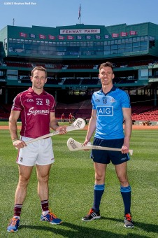 """Dublin hurling player Mark Schutte and Galway hurling player Dave Collins pose for a photograph during a press conference announcing the AIG Fenway Hurling Classic and Irish Festival Announcement, at Fenway Park in Boston, Massachusetts Tuesday, September 15, 2015."""