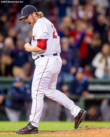 """Boston Red Sox pitcher Robbie Ross Jr. reacts after recording the final out during the ninth inning of a game against the Tampa Bay Rays at Fenway Park in Boston, Massachusetts Monday, September 21, 2015."""