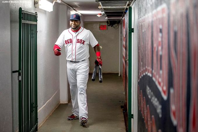 """Boston Red Sox designated hitter David Ortiz walks through the tunnel during a ceremony recognizing his 500th career home run before a game against the Tampa Bay Rays at Fenway Park in Boston, Massachusetts Monday, September 21, 2015."""