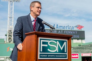 """Boston Red Sox Chief Operating Officer Sam Kennedy speaks during a press conference announcing a Big Air ski and snowboard competition at Fenway Park in Boston, Massachusetts Tuesday, September 22, 2015."""