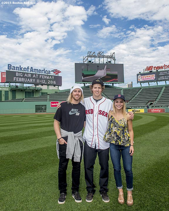 """Olympic snowboarding gold medalist Sage Kotsenburg, Olympic skiing gold medalist Joss Christensen, and snowboarder Ty Walker pose for a photograph during a press conference announcing a Big Air ski and snowboard competition at Fenway Park in Boston, Massachusetts Tuesday, September 22, 2015."""