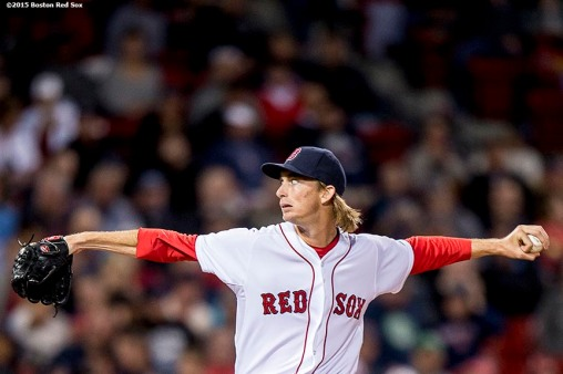 """Boston Red Sox pitcher Henry Owens delivers during the third inning of a game against the Tampa Bay Rays at Fenway Park in Boston, Massachusetts Tuesday, September 22, 2015."""