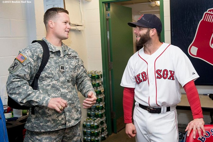 """Boston Red Sox second baseman Dustin Pedroia greets guests as part of his Pedroia's Platoon program before a game between the Boston Red Sox and the Tampa Bay Rays at Fenway Park in Boston, Massachusetts Tuesday, September 22, 2015."""