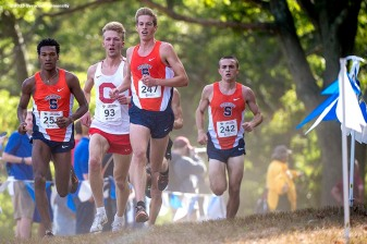 """The Syracuse University Cross Country team competes in the Coast to Coast Battle in Beantown cross country meet at Franklin Park Zoo in Boston, Massachusetts Friday, September 25, 2015."""