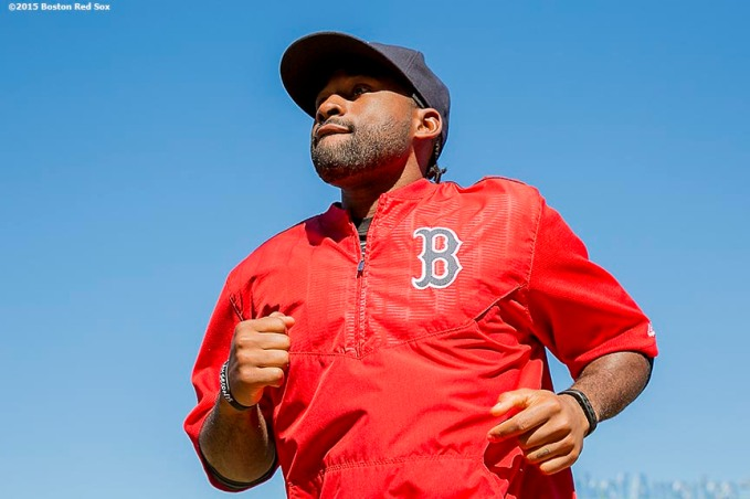 """Outfielder Jackie Bradley Jr. looks on during on-field photo day before a game between the Boston Red Sox and the Baltimore Orioles at Fenway Park in Boston, Massachusetts Sunday, September 27, 2015."""