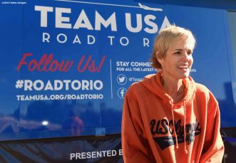 BOSTON, MA - OCTOBER 17: US Olympian Dara Torres attends a Road to Rio Tour presented by Liberty Mutual Insurance event on October 17, 2015 at the Head of the Charles Regatta in Boston, Massachusetts. (Photo by Billie Weiss/Getty Images for the USOC)