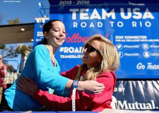 BOSTON, MA - OCTOBER 17: US Olympian Nastia Liukin signs autographs during a Road to Rio Tour presented by Liberty Mutual Insurance event on October 17, 2015 at the Head of the Charles Regatta in Boston, Massachusetts. (Photo by Billie Weiss/Getty Images for the USOC)