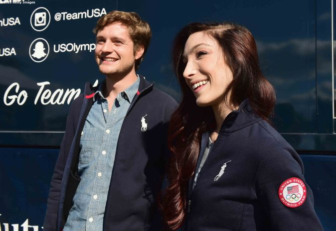 BOSTON, MA - OCTOBER 17: US Olympians Charlie White and Meryl Davis attend a Road to Rio Tour presented by Liberty Mutual Insurance event on October 17, 2015 at the Head of the Charles Regatta in Boston, Massachusetts. (Photo by Billie Weiss/Getty Images for the USOC)