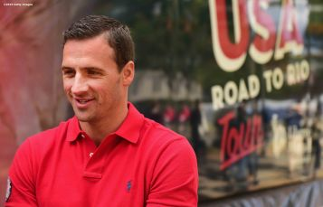 BOSTON, MA - OCTOBER 17: US Olympian Ryan Lochte attends a Road to Rio Tour presented by Liberty Mutual Insurance event on October 17, 2015 at the Head of the Charles Regatta in Boston, Massachusetts. (Photo by Billie Weiss/Getty Images for the USOC)