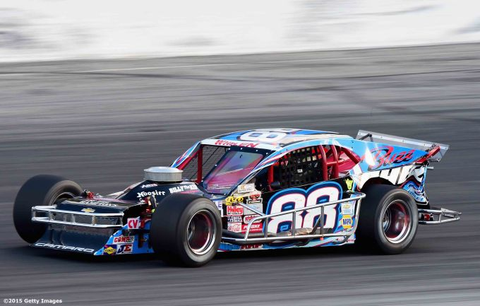 THOMPSON, CT - OCTOBER 18: Woody Pitkat #88 in action during the NASCAR Whelen Modified Tour SUNOCO World Series 150 at Thompson Speedway on October 18, 2015 in Thompson, Connecticut. (Photo by Billie Weiss/NASCAR/NASCAR via Getty Images)
