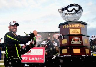 THOMPSON, CT - OCTOBER 18: Doug Coby celebrates after winning the NASCAR Whelen Modified Tour SUNOCO World Series 150 at Thompson Speedway on October 18, 2015 in Thompson, Connecticut. (Photo by Billie Weiss/NASCAR/NASCAR via Getty Images)