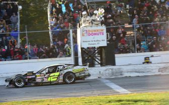 THOMPSON, CT - OCTOBER 18: Doug Coby #2 takes the checkered flag as he wins the NASCAR Whelen Modified Tour SUNOCO World Series 150 at Thompson Speedway on October 18, 2015 in Thompson, Connecticut. (Photo by Billie Weiss/NASCAR/NASCAR via Getty Images)