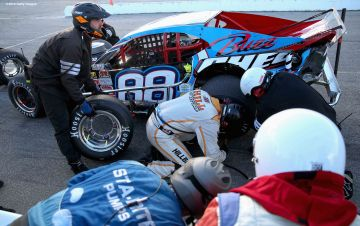 THOMPSON, CT - OCTOBER 18: The pit crew works on the car of Woody Pitkat #88 during the NASCAR Whelen Modified Tour SUNOCO World Series 150 at Thompson Speedway on October 18, 2015 in Thompson, Connecticut. (Photo by Billie Weiss/NASCAR/NASCAR via Getty Images)