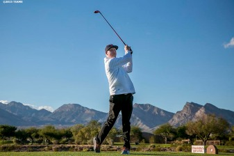 """A golfer swings during the annual TEAMS golf tournament at TPC Las Vegas in Las Vegas, Nevada Monday, November 5, 2015."""