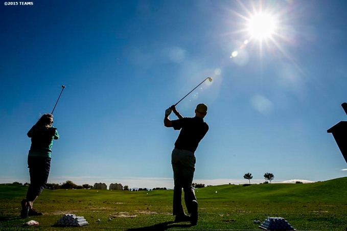 """Registrants warm up during the annual TEAMS golf tournament at TPC Las Vegas in Las Vegas, Nevada Monday, November 5, 2015."""