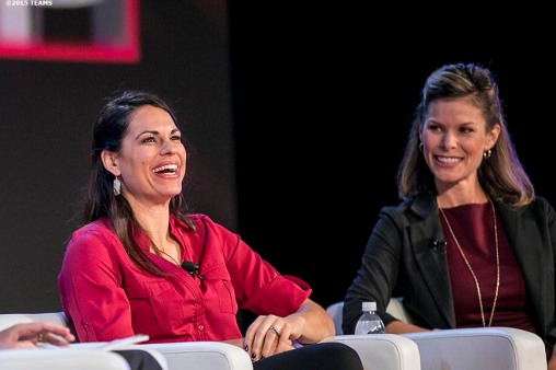 """Jessica Mendoza of ESPN speaks at the General Session #1 during the TEAMS Conference & Expo at Mandalay Bay Convention Center in Las Vegas, Nevada Monday, November 5, 2015."""